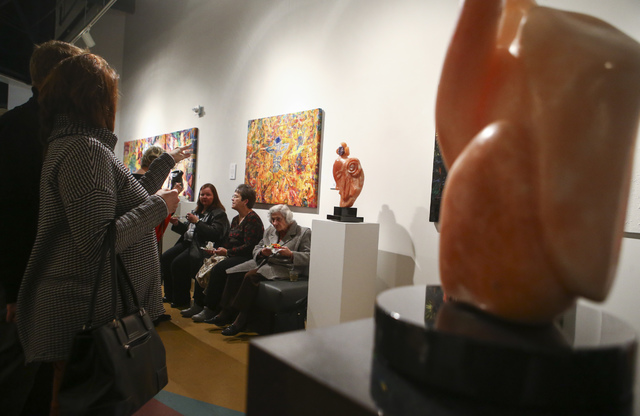 Nearly 200 people attended a reception for the Rock Stars III sculpture exhibition at the Metropolitan Gallery in downtown Las Vegas on Thursday, Jan. 26, 2017. (Chase Stevens/Las Vegas Review-Jou ...