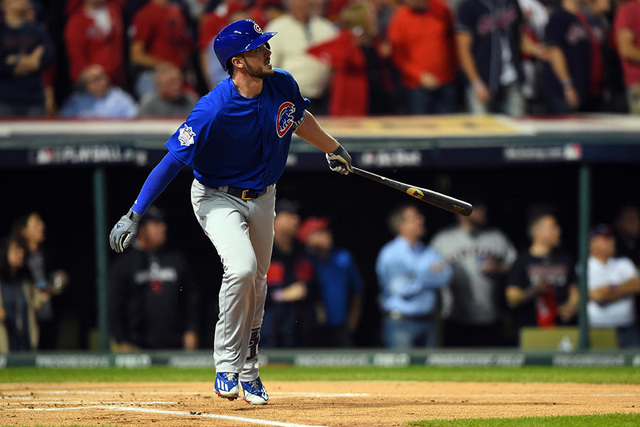 Chicago Cubs third baseman Kris Bryant hits a solo home run against the Cleveland Indians in the first inning in game six of the 2016 World Series at Progressive Field. (Tommy Gilligan/USA Today S ...