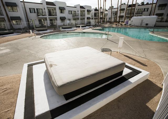 The pool area at Rumor Boutique Hotel, 455 E Harmon Ave on Monday, Jan. 23, 2017. (Jeff Scheid/Las Vegas Review-Journal )@jeffscheid