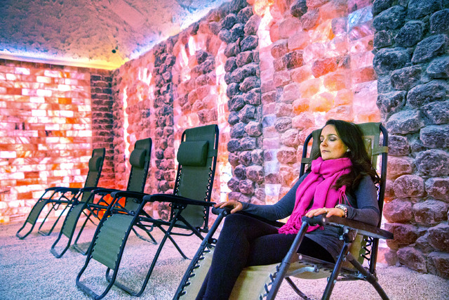 Niki Scalera relaxes in the salt cave at Salt Room LV. Sessions typically last about 45 minutes. (Benjamin Hager/Las Vegas Review-Journal)