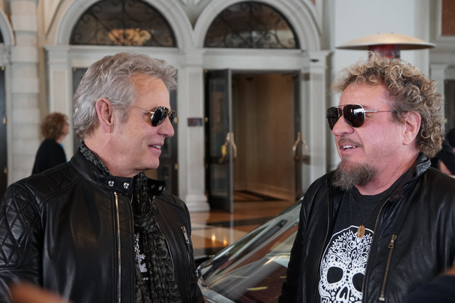 """Don Felder, left, and Sammy Hagar are shown at the Venetian on Friday as they record an episode of """"Rock & Roll Road Trip With Sammy Hagar."""" (Courtesy photo)"""