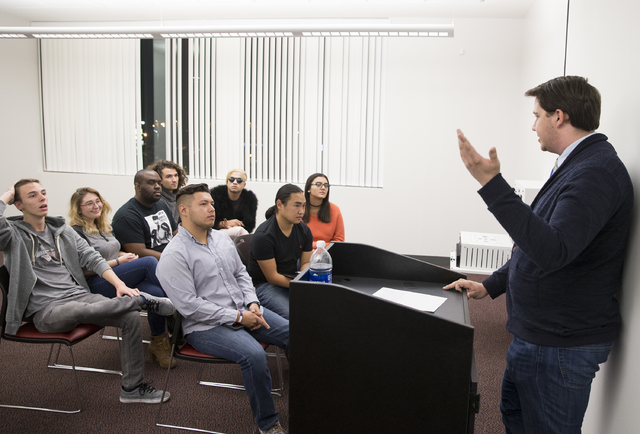 Taylor Kruse, president of UNLV Young Democrats, discusses priorities of the group during a meeting at UNLV's Student Union Building on Friday, Dec. 9, 2016, in Las Vegas. (Benjamin Hager/Las Vega ...