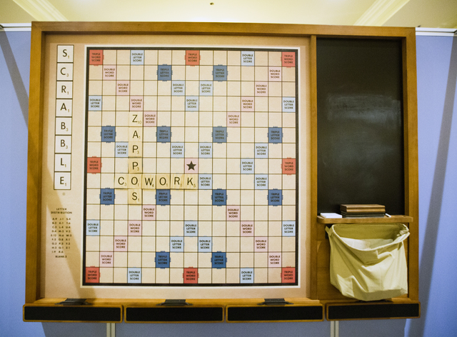 A Scrabble game hangs on a wall at the Zappos-branded CoWorking Lounge in a corridor leading to the Sands Expo Center on Wednesday, Jan. 25, 2017. (Jeff Scheid/Las Vegas Review-Journal) @jeffscheid