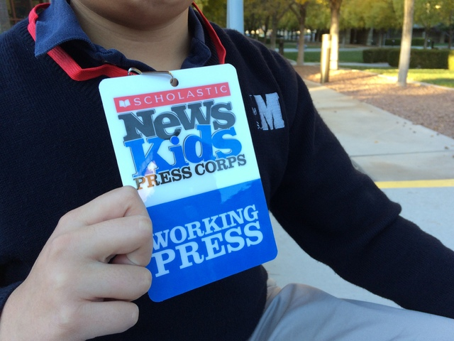 The press badge issued by Scholastic Magazine to Alex Wong, eighth grader at The Meadows School, is seen Dec. 6, 2016. To secure the positon, Wong submitted sample articles that included high-prof ...