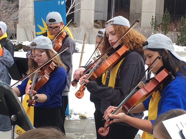 A student orchestra from the Choral Academy of Science charter school in Las Vegas serenades the school choice participants in Carson City on Wednesday, Jan. 25, 2017. (Sean Whaley/Las Vegas Revie ...