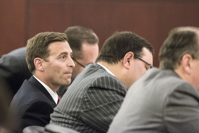 Nevada Attorney General Adam Laxalt, second from right, listens to oral arguments involving school choice Friday, July 29, 2016, in front of Nevada Supreme Court. Jeff Scheid/Las Vegas Review-Jour ...