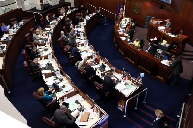 The Nevada Senate works in the final hours of the session at the Legislative Building in Carson City on Monday, June 1, 2015. (Cathleen Allison/Las Vegas Review-Journal)