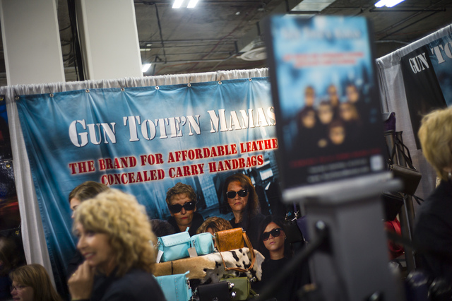 The Gun Tote'n Mamas booth, offering concealed-carry handbags, during SHOT Show at the Sands Expo and Convention Center in Las Vegas on Thursday, Jan. 19, 2017. (Chase Stevens/Las Vegas Review-Jou ...
