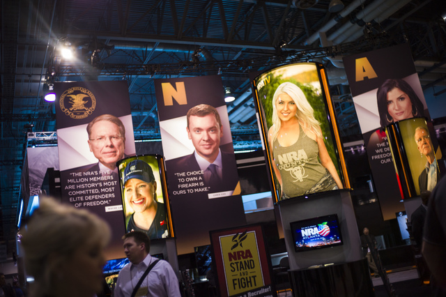 An NRA display during SHOT Show at the Sands Expo and Convention Center in Las Vegas on Thursday, Jan. 19, 2017. (Chase Stevens/Las Vegas Review-Journal) @csstevensphoto