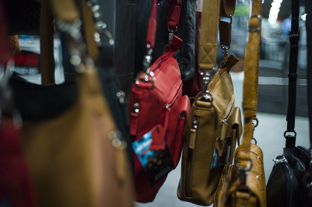 Concealed-carry handbags from Gun Tote'n Mamas during SHOT Show at the Sands Expo and Convention Center in Las Vegas on Thursday, Jan. 19, 2017. (Chase Stevens/Las Vegas Review-Journal) @csstevens ...