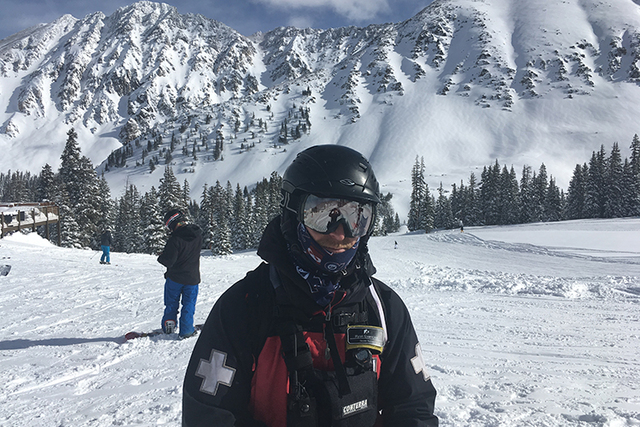Snow Safety Patroller Ryan Evanczyk stands on the mountainside at Arapahoe Basin ski area, where he works, Thursday, Jan. 12, 2017, in Arapahoe, Colo. Evanczyk has had his hands full lately perfor ...