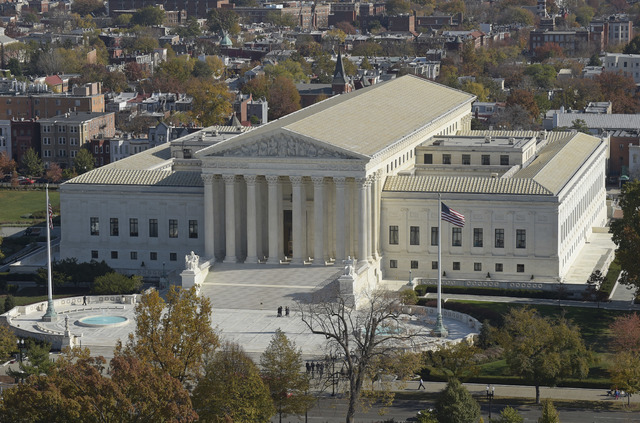A view of the Supreme Court from the Capitol Dome on Capitol Hill in Washington. (Susan Walsh/AP)