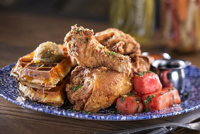 Chicken 'n Watermelon 'n Waffles at Yardbird at The Venetian. (Courtesy)