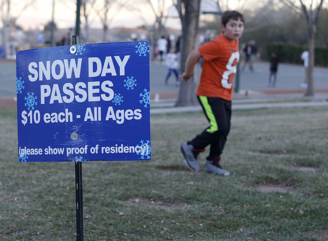 The Arbors Tennis and Play Park on Saturday, Jan. 28, 2017, in Las Vegas. The park offered sledding and other activities to the visitors. (Christian K. Lee/Las Vegas Review-Journal) @chrisklee_jpeg