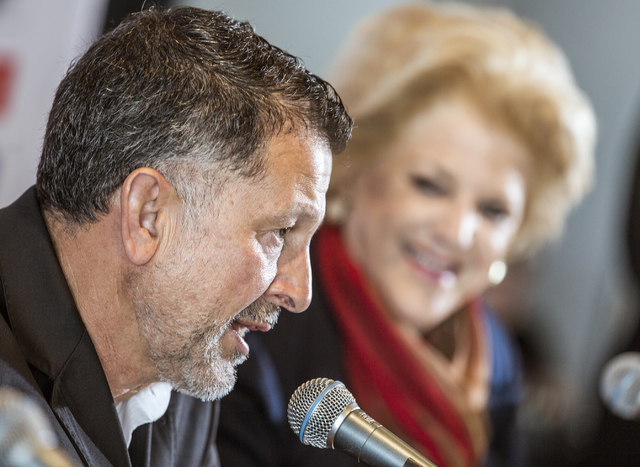 Juan Carlos Osorio,left, manager of the Mexican national soccer team, and Las Vegas Mayor Carolyn Goodman during a news conference in the Strip View Pavilion at Thomas and Mack Center on Tuesday,  ...