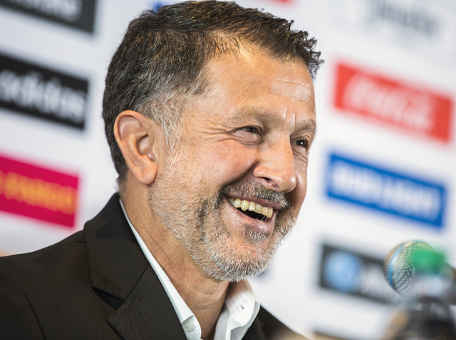 Juan Carlos Osorio, manager of the Mexican national soccer team, during a news conference in the Strip View Pavilion at Thomas and Mack Center on Tuesday, Jan. 10, 2017. Mexico will be playing Ice ...
