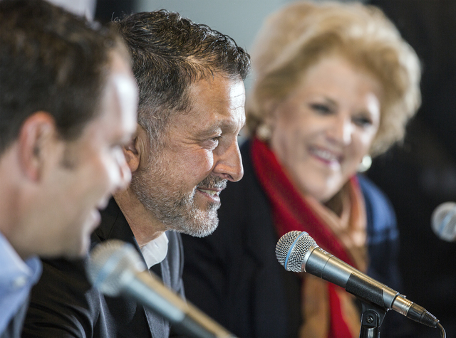 Juan Carlos Osorio,center, manager of the Mexican national soccer team, and Las Vegas Mayor Carolyn Goodman during a news conference in the Strip View Pavilion at Thomas and Mack Center on Tuesday ...