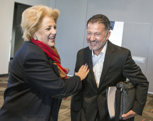 Las Vegas Mayor Carolyn Goodman, left, and Juan Carlos Osorio, manager of the Mexican national soccer team, laugh during a news conference in the Strip View Pavilion at Thomas and Mack Center on T ...