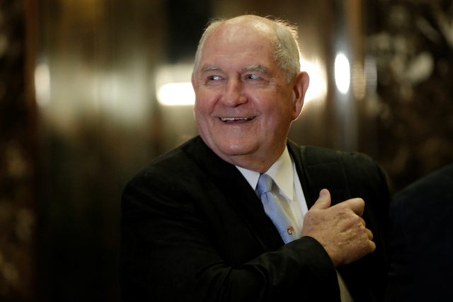 Former Georgia Governor Sonny Perdue arrives for a meeting with U.S. President-elect Donald Trump at Trump Tower in New York on Nov. 30, 2016. (Mike Segar/Reuters)