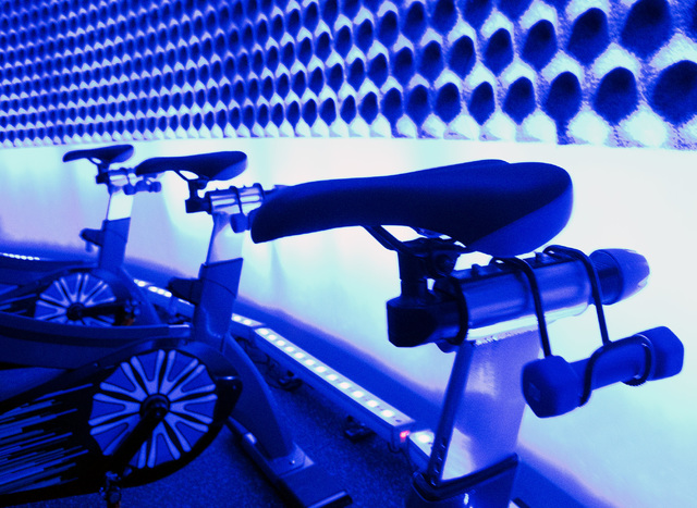 Stationary bicycles line the wall at The Ride Premium Indoor Cycling at 4245 S. Grand Canyon Drive in Las Vegas, Monday, Dec. 19, 2016. (Jeff Scheid/Las Vegas Review-Journal) @jlscheid