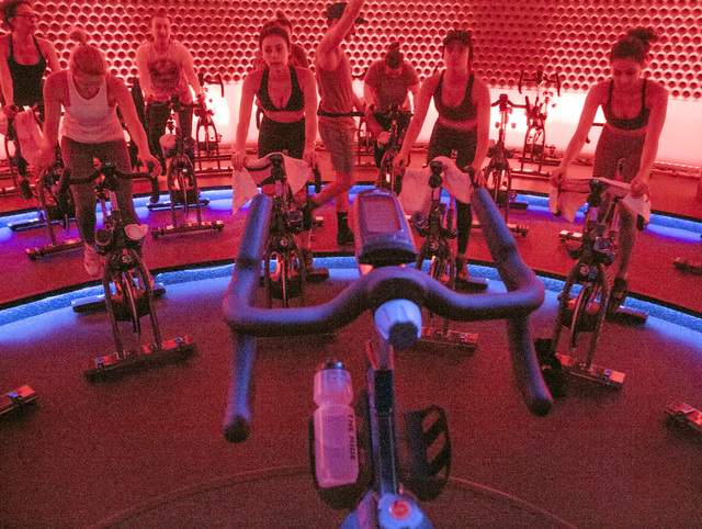 A group of women train at The Ride Premium Indoor Cycling, 4245 S. Grand Canyon Drive in Las Vegas on Monday, Dec. 19, 2016. (Jeff Scheid/Las Vegas Review-Journal) @jlscheid
