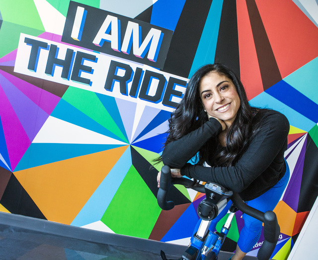 Shannon McBeath, co-owner of The Ride Premium Indoor Cycling, 4245 S. Grand Canyon Drive in Las Vegas, Monday, Dec. 19, 2016, recently opened the boutique training facility.  (Jeff Scheid/Las Vega ...