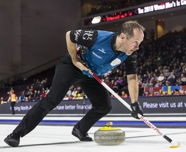 Brent Laing sweeps down the ice during the 2017 World Financial Group Continental Cup on Friday, Jan. 13, 2017, at Orleans Arena, in Las Vegas. (Benjamin Hager/Las Vegas Review-Journal)