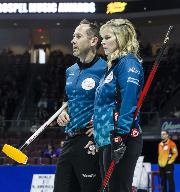 Jennifer Jones, right, and husband Brent Laing watch fellow competitors during the 2017 World Financial Group Continental Cup on Friday, Jan. 13, 2017, at Orleans Arena, in Las Vegas. (Benjamin Ha ...