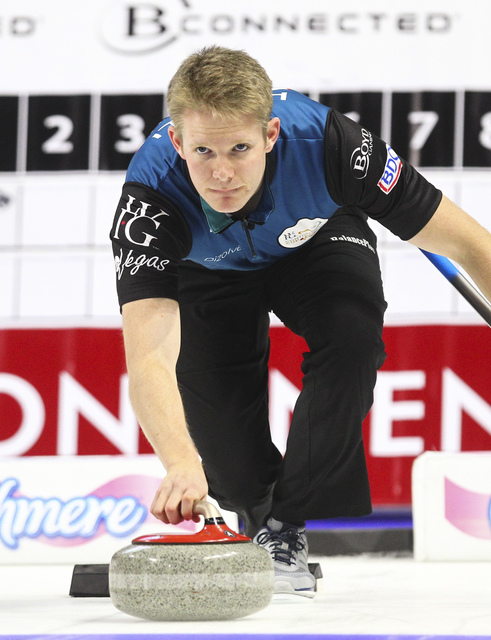Team North America's Tom Howell delivers the rock during the WFG Continental Cup curling championship at the Orleans Arena in Las Vegas on Thursday, Jan. 12, 2017. (Chase Stevens/Las Vegas Review- ...