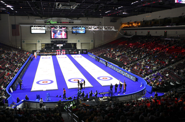 The opening ceremony for the WFG Continental Cup goes on at the Orleans Arena in Las Vegas on Wednesday, Jan. 11, 2017. (Chase Stevens/Las Vegas Review-Journal) @csstevensphoto