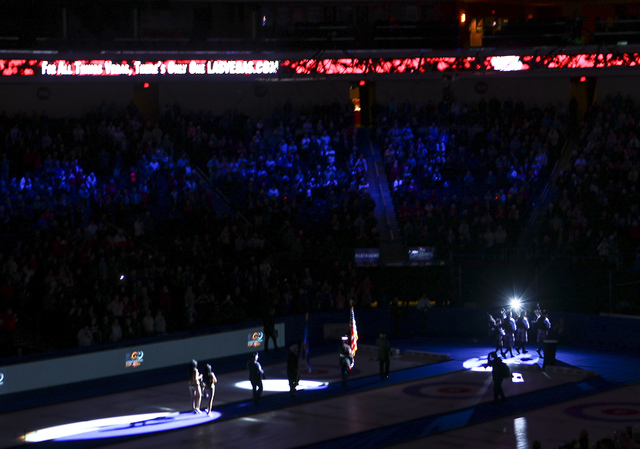 Honor and color guards during the opening ceremony for the WFG Continental Cup at the Orleans Arena in Las Vegas on Wednesday, Jan. 11, 2017. (Chase Stevens/Las Vegas Review-Journal) @csstevensphoto
