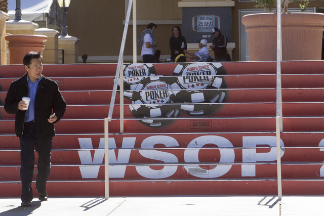 A man is seen at the World Series of Poker entrance during Day 4 of the Main Event of the WSOP at the Rio Convention Center in Las Vegas on Friday, July 15, 2016. Richard Brian/Las Vegas Review-Jo ...