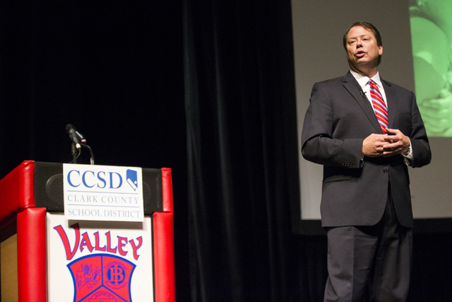 Clark County School District Superintendent Pat Skorkowsky delivers the the Schools address at Valley High School on Friday, Jan. 27, 2017, in Las Vegas. Erik Verduzco/Las Vegas Review-Journal Fol ...