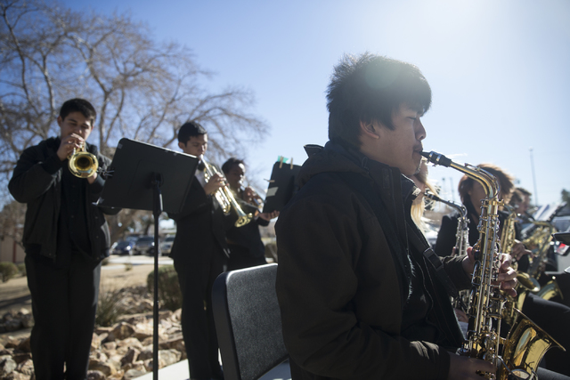 Jazz band member Mikaylo Santiago, 18, performs prior to the State of the Schools address at Valley High School on Friday, Jan. 27, 2017, in Las Vegas. Erik Verduzco/Las Vegas Review-Journal Follo ...