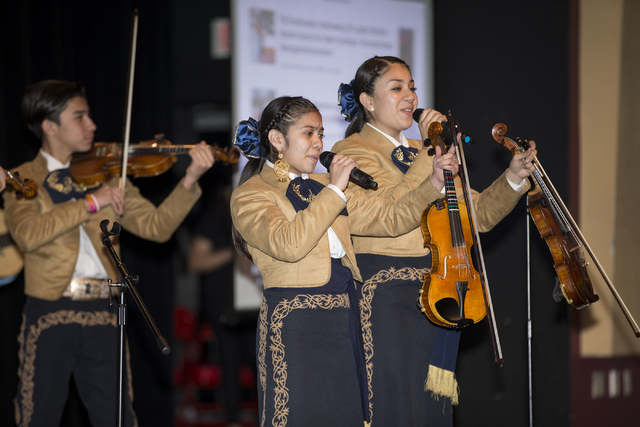 Students in the Mariachi Los Gavilanes of Monaco Middle School perform in the State of the Schools address at Valley High School on Friday, Jan. 27, 2017, in Las Vegas. Erik Verduzco/Las Vegas Rev ...