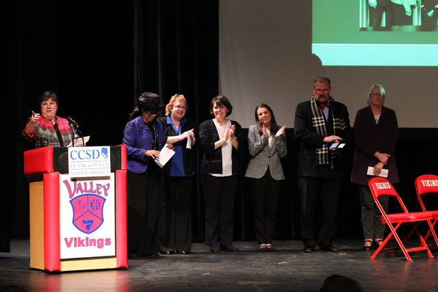 Clark County School District Board of School Trustees President Deanna Wright introduces the rest of the board during the State of the Schools address at Valley High School on Friday, Jan. 27, 201 ...