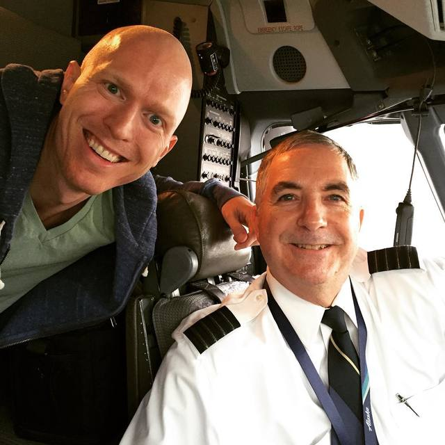 Steinar Skipsnes is pictured with David, an Alaska Airlines pilot. (Courtesy)