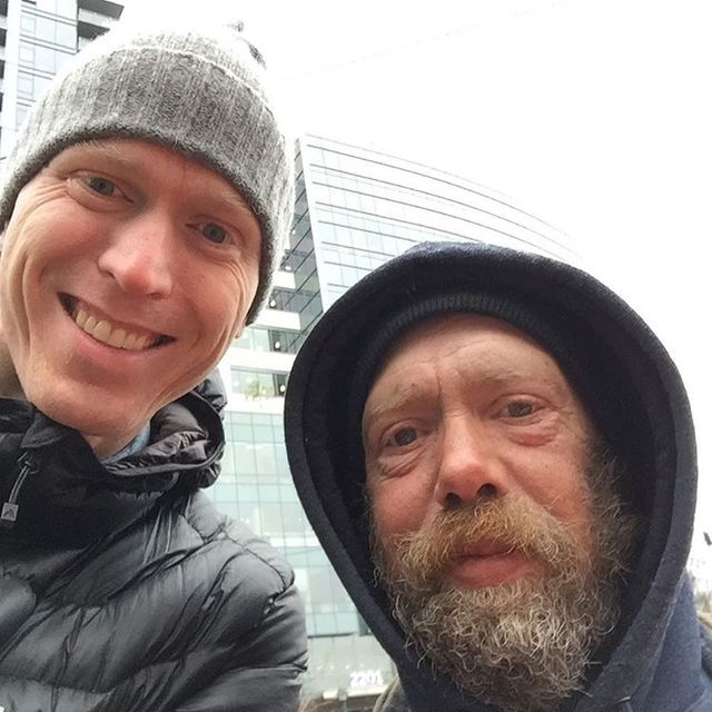 Steinar Skipsnes is pictured with John, a homeless man. (Courtesy)