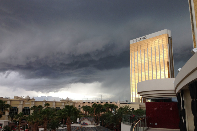 Storm clouds are seen from Mandalay Beach in Las Vegas. (Christopher Dexheimer/At The Scene)