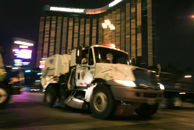 Street Sweepers arrive to the Strip to clean up the trash of New Year's revelers just after midnight on Sunday, Jan. 1, 2017. Brett Le Blanc/Las Vegas Review-Journal Follow @bleblancphoto