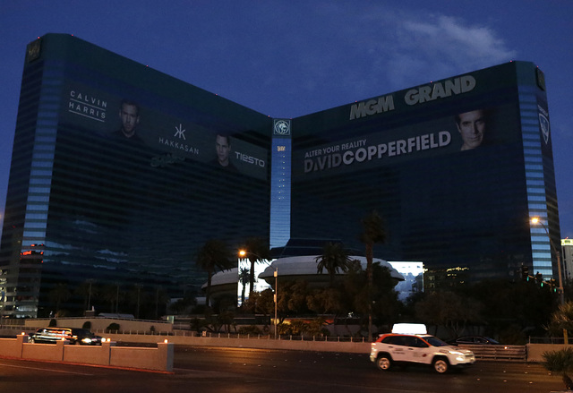 The power was out for about an hour at the MGM Grand early Wednesday, Jan. 11, 2017, in Las Vegas. Power was slowly coming back by 6:20 a.m. (Bizuayehu Tesfaye/Las Vegas Review-Journal) @bizutesfaye