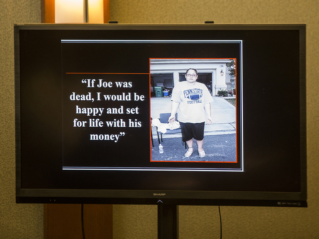 A photo and quote from Brandy Stutzman presented by the prosecution during closing arguments in Stutzman's death penalty murder trial on Friday, Jan. 27, 2017, at the Regional Justice Center, in L ...