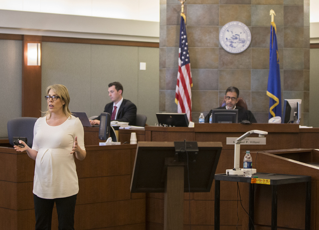 Prosecutor Michelle Fleck addresses the jury during closing arguments in the death penalty murder trial of Brandy Stutzman on Friday, Jan. 27, 2017, at the Regional Justice Center, in Las Vegas. S ...