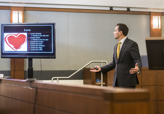 Defense attorney Josh Tomsheck addresses the jury during closing arguments in the death penalty murder trial of Brandy Stutzman on Friday, Jan. 27, 2017, at the Regional Justice Center, in Las Veg ...
