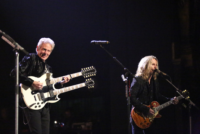 """Tommy Shaw of Styx, right, and Don Felder perform the Eagles hit """"Hotel California"""" at The Venetian Theater on Thursday, Jan. 5, 2017. (Michael Quine/Las Vegas Review-Journal) @Vegas88s"""