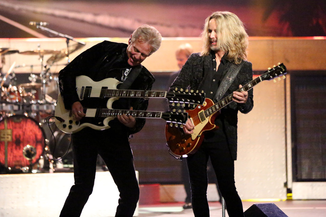 """Don Felder, left, , formerly of the Eagles, and Tommy Shaw of Styx perform the Eagles hit """"Hotel California"""" at The Venetian Theater on Thursday, Jan. 5, 2017. (Michael Quine/Las Vegas Review-Jour ..."""