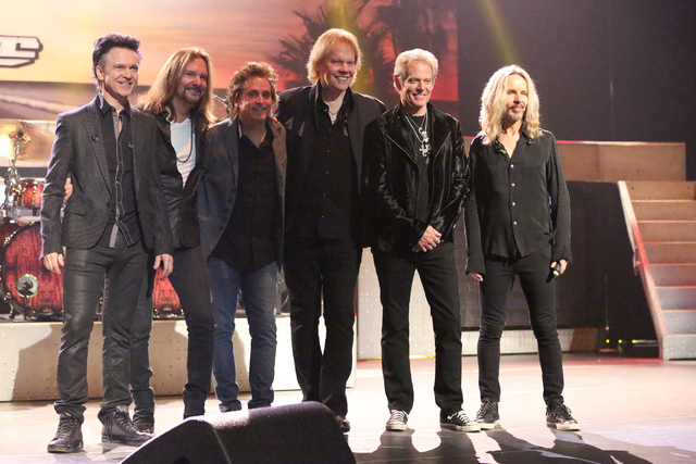 """Lawrence Gowan, left, Ricky Phillips, Todd Sucherman, James """"JY"""" Young, Don Felder, formerly of the Eagles, and Tommy Shaw, meet with the media about """"Styx & Don Felder: Renegades In The ..."""