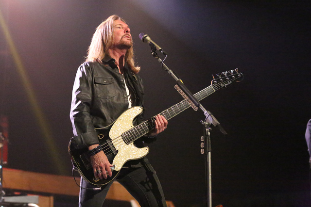 """Bass player Ricky Phillips performs during a preview of the """"Styx & Don Felder: Renegades In The Fast Lane,"""" show at The Venetian Theater on Thursday, Jan. 5, 2017. (Michael Quine/Las Vega ..."""