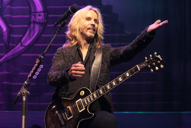 Tommy Shaw of the band Styx performs in concert at the American Music Theater on Monday, Aug. 15, 2016, in Lancaster, Pa. (Photo by Owen Sweeney/Invision/AP)