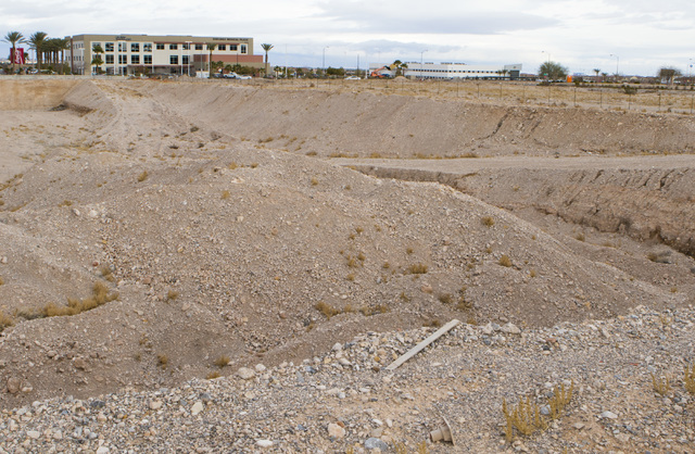 A plot of land at the southeast corner of Sunset Road and Durango Drive that has sat vacant since 2008 in Las Vegas is shown on Thursday, Jan. 19, 2017. The location was originally meant to house  ...